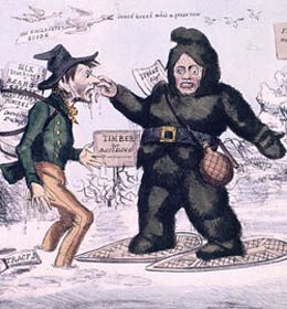 Explorer meeting a Canadian (artist rendition)