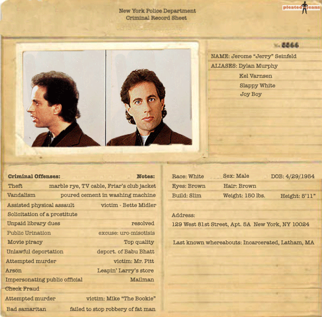 Exclusive: Criminal Records for the Cast of Seinfeld (Pics)